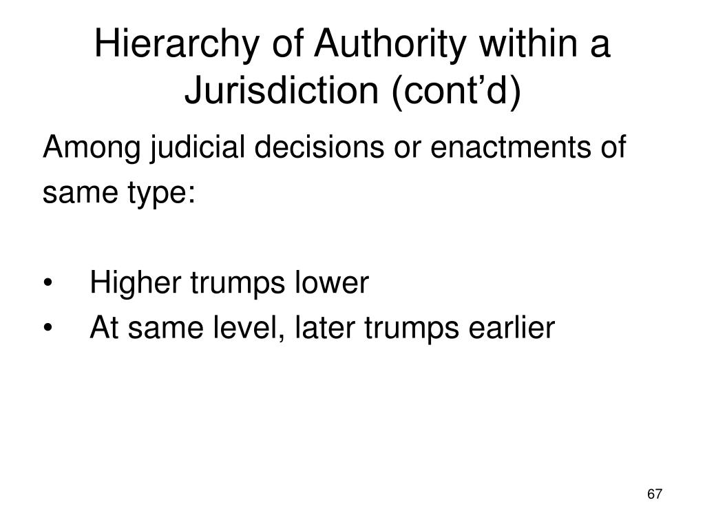 Hierarchy of Authority within a Jurisdiction (cont'd)