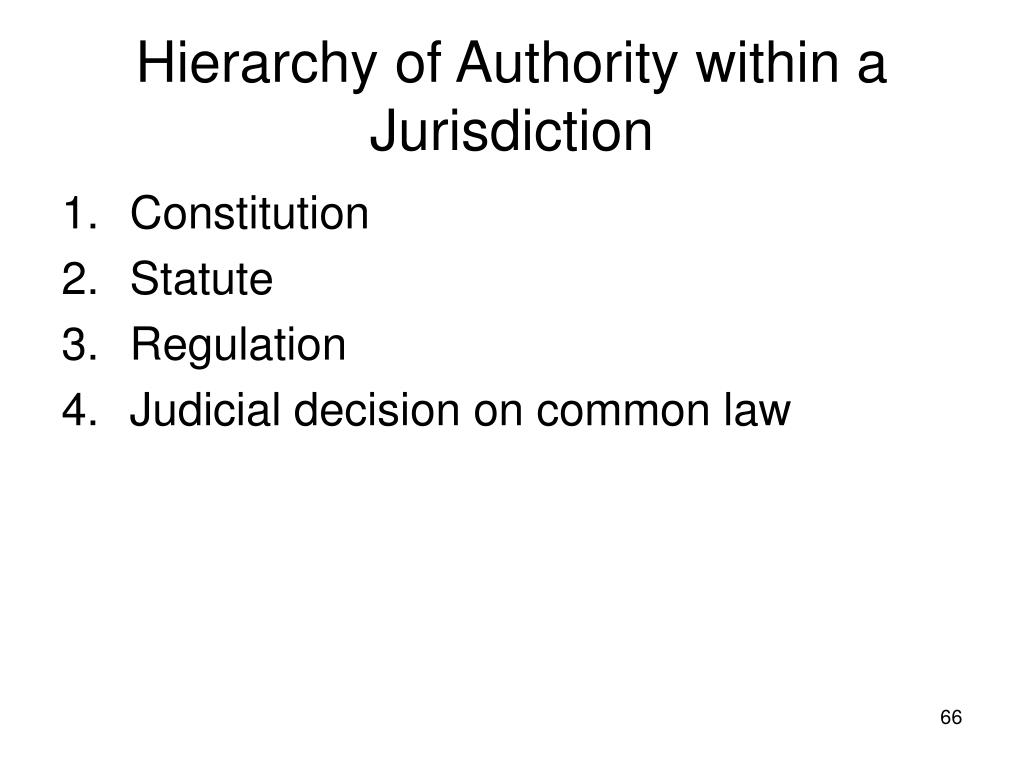 Hierarchy of Authority within a Jurisdiction