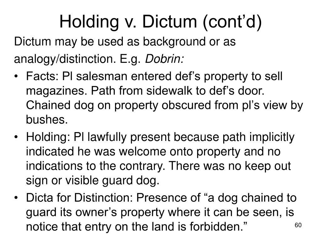 Holding v. Dictum (cont'd)