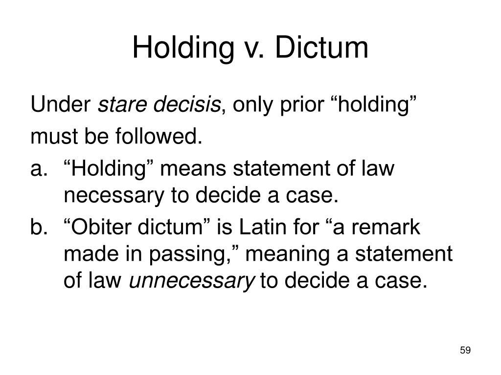 Holding v. Dictum
