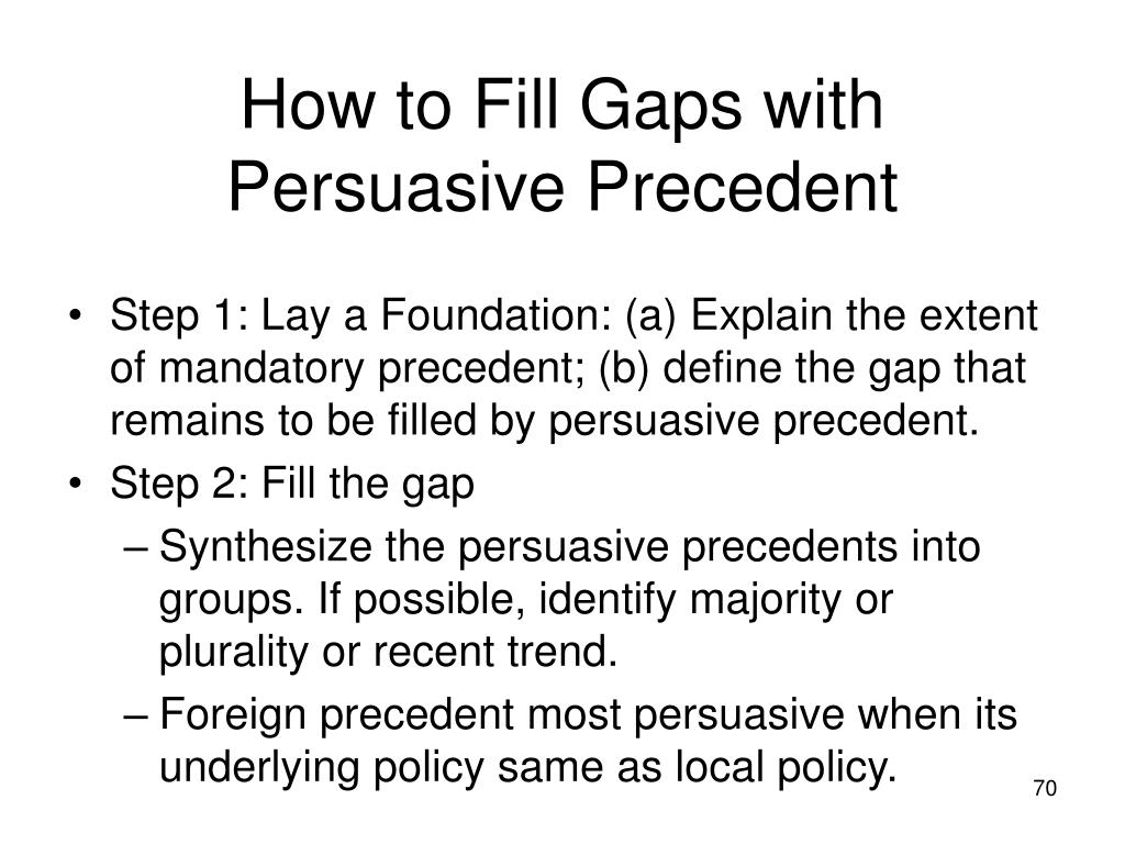 How to Fill Gaps with Persuasive Precedent