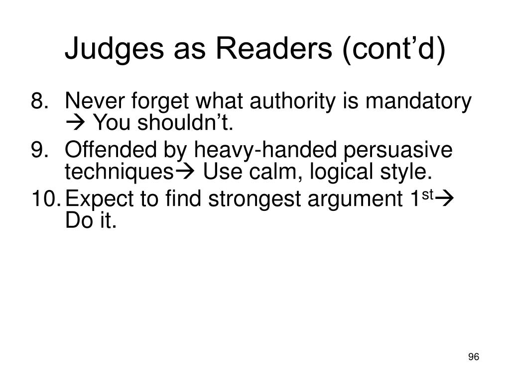 Judges as Readers (cont'd)