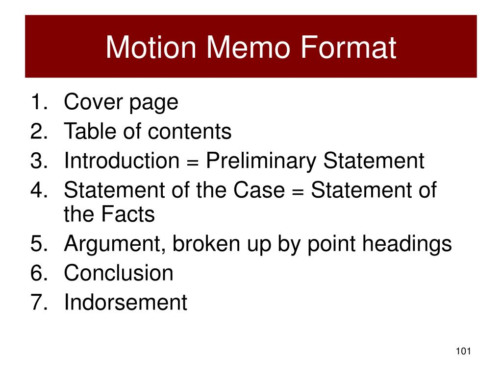 Motion Memo Format