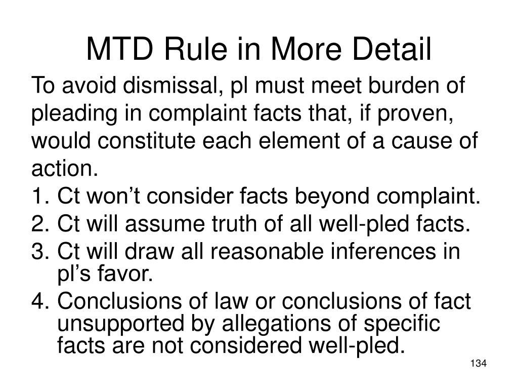 MTD Rule in More Detail