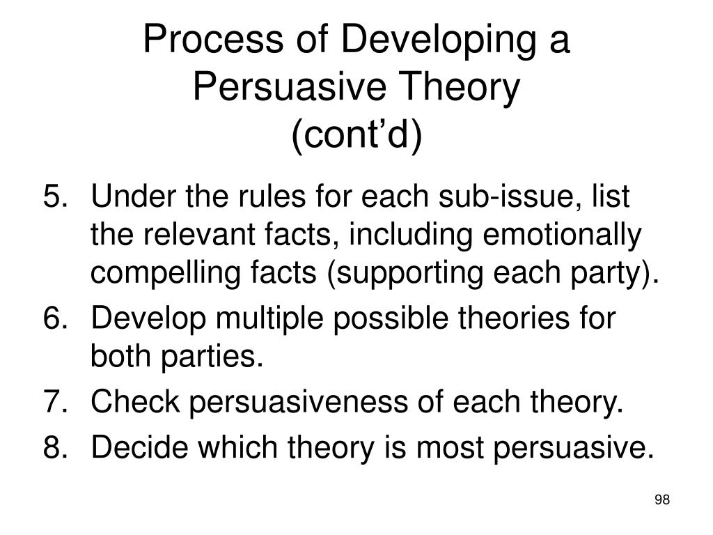 Process of Developing a Persuasive Theory