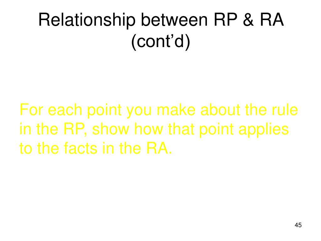 Relationship between RP & RA (cont'd)