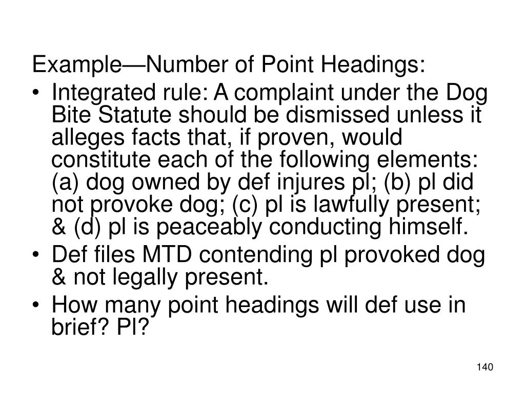 Example—Number of Point Headings: