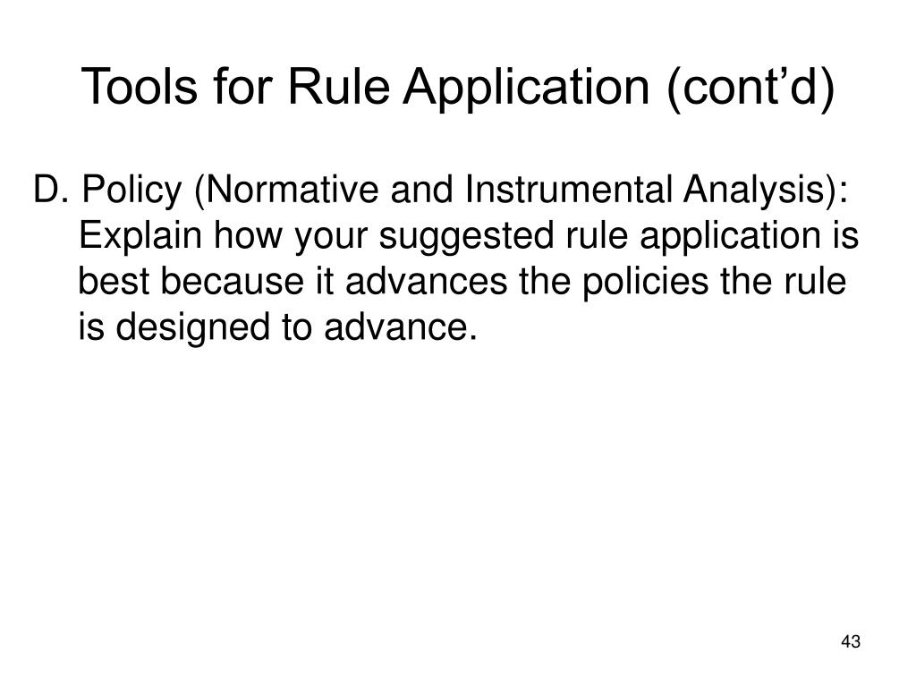 Tools for Rule Application (cont'd)