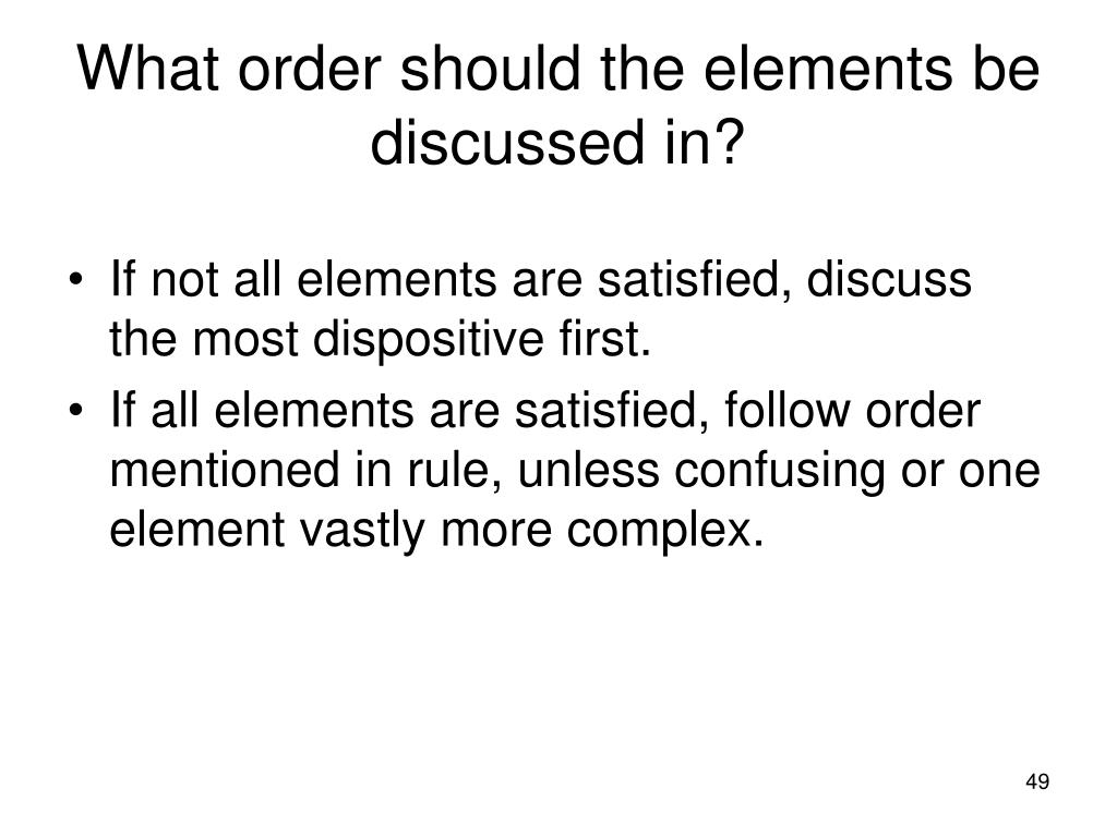 What order should the elements be discussed in?