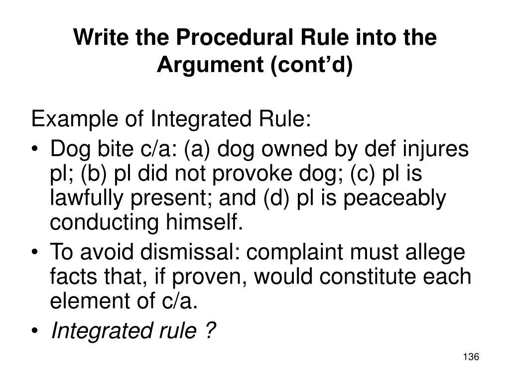 Write the Procedural Rule into the Argument (cont'd)