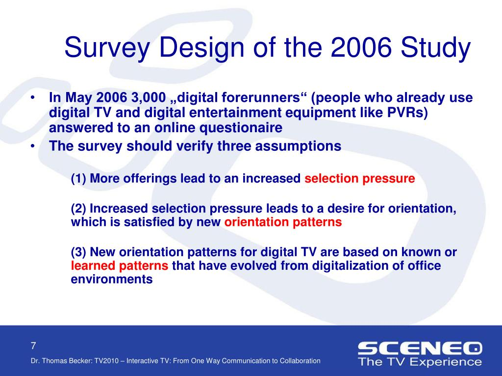 Survey Design of the 2006 Study