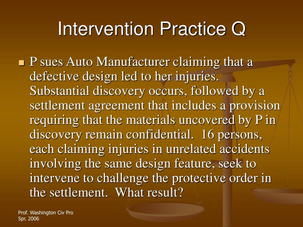 Intervention Practice Q