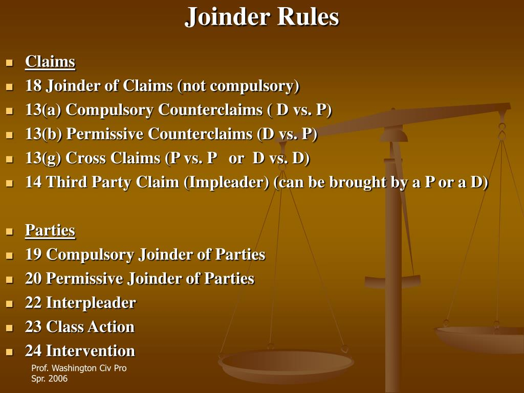 Joinder Rules
