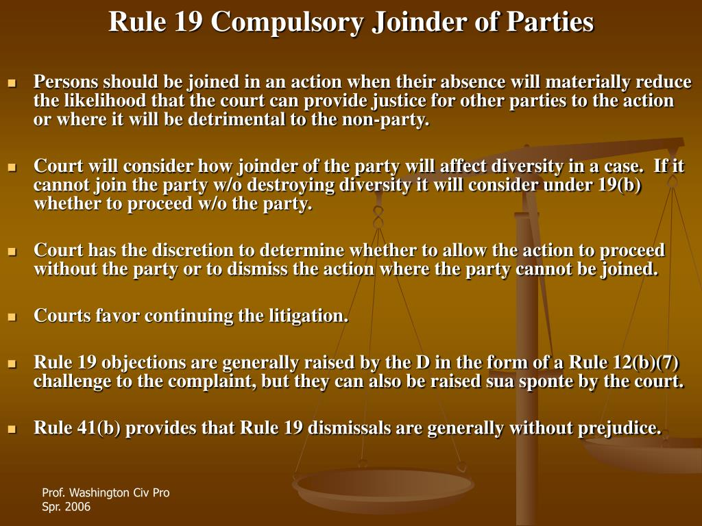 Rule 19 Compulsory Joinder of Parties