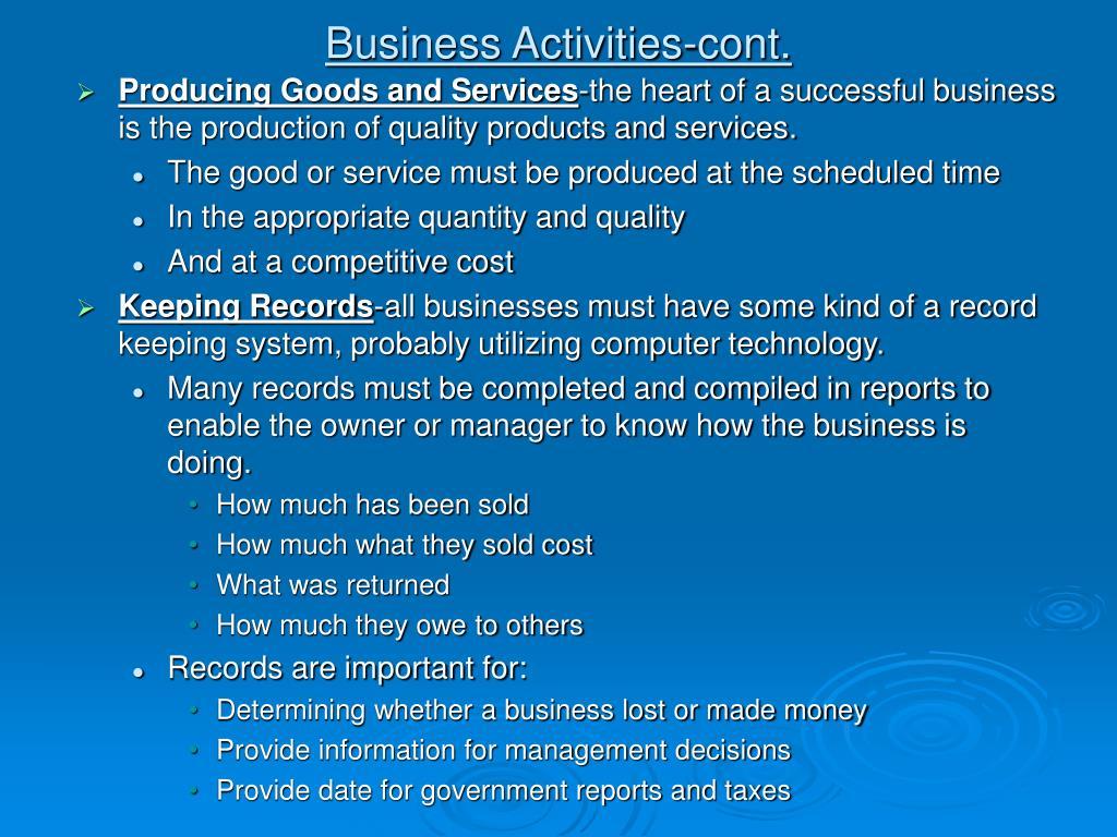Business Activities-cont.
