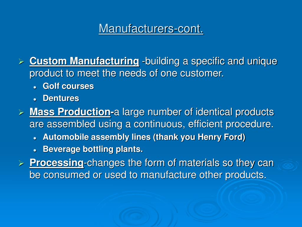 Manufacturers-cont.