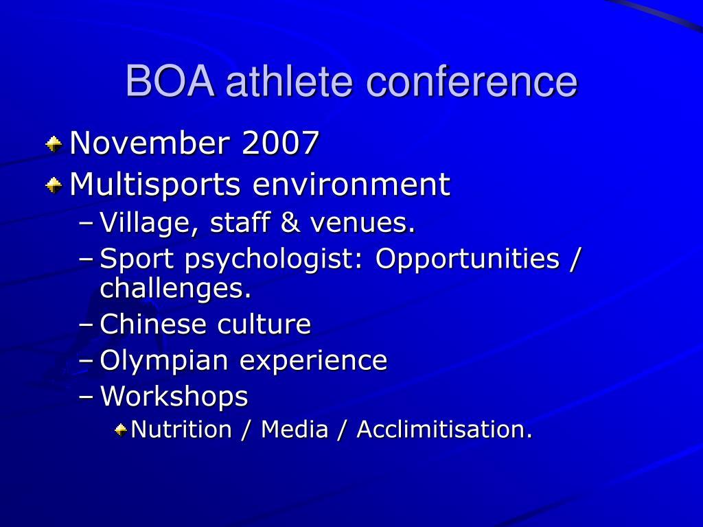 BOA athlete conference