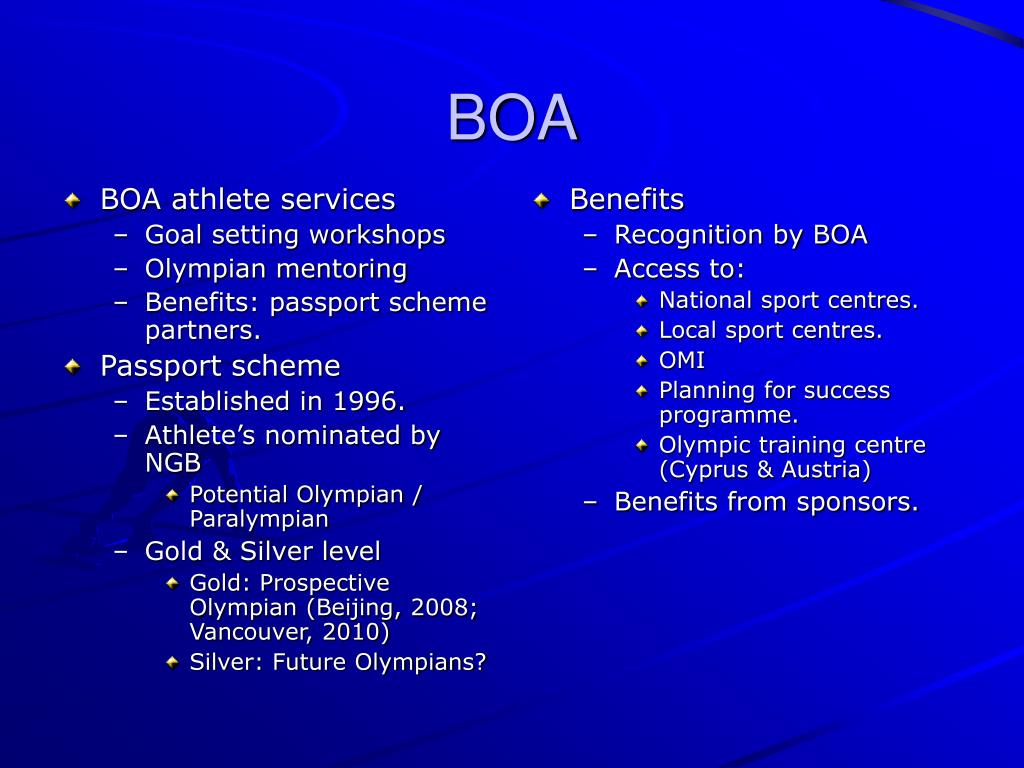 BOA athlete services