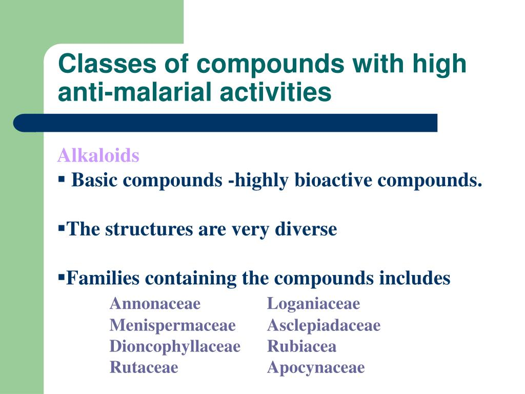Classes of compounds with high anti-malarial activities