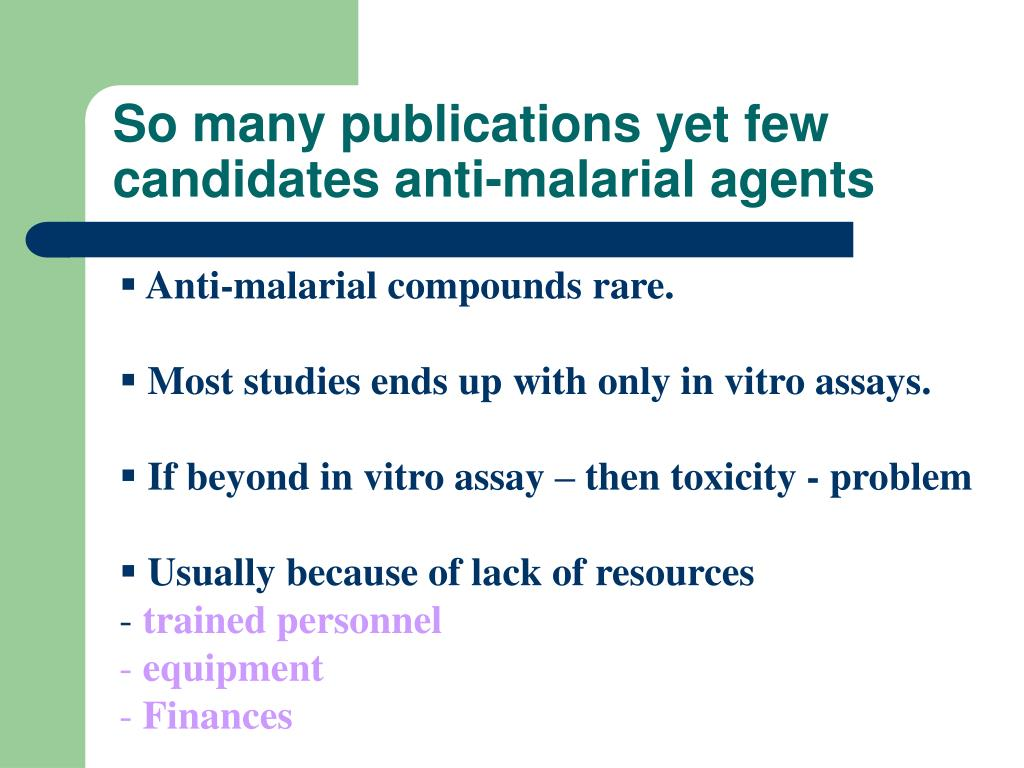 So many publications yet few candidates anti-malarial agents