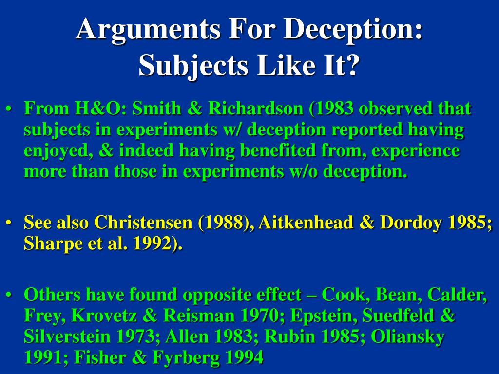 Arguments For Deception:
