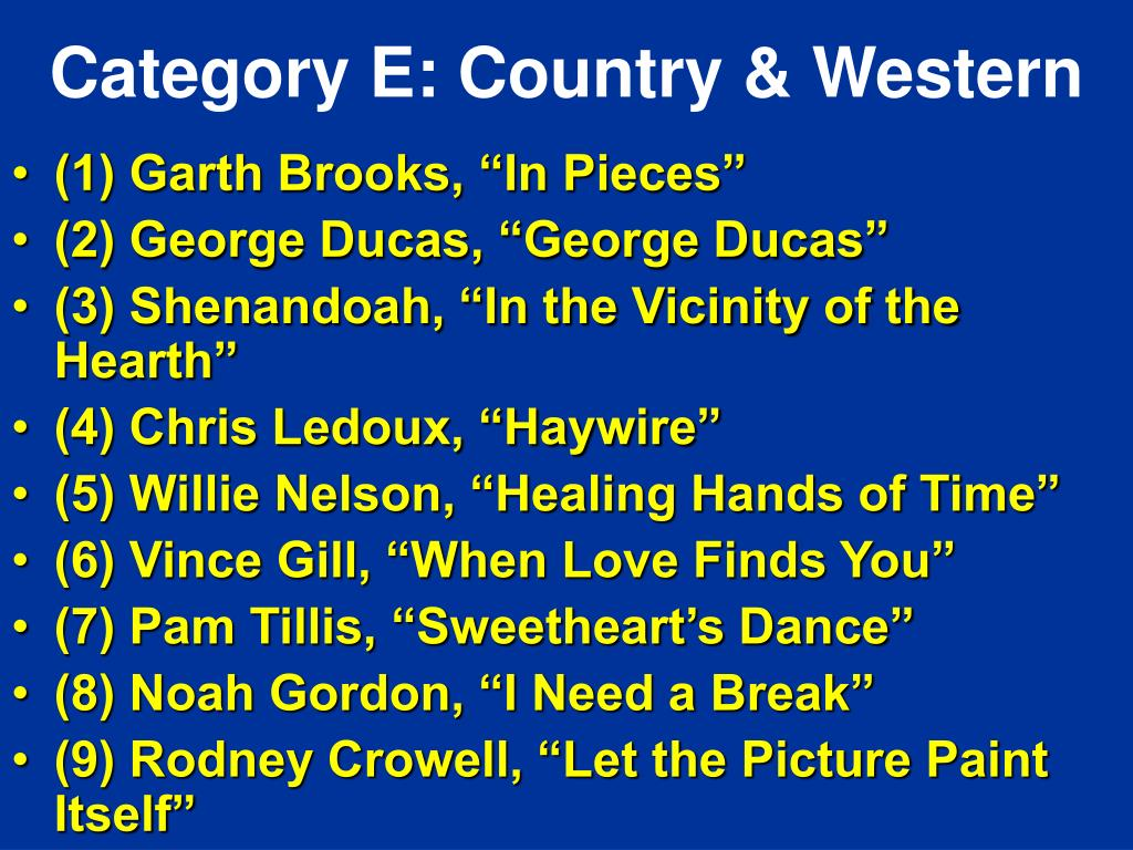 Category E: Country & Western