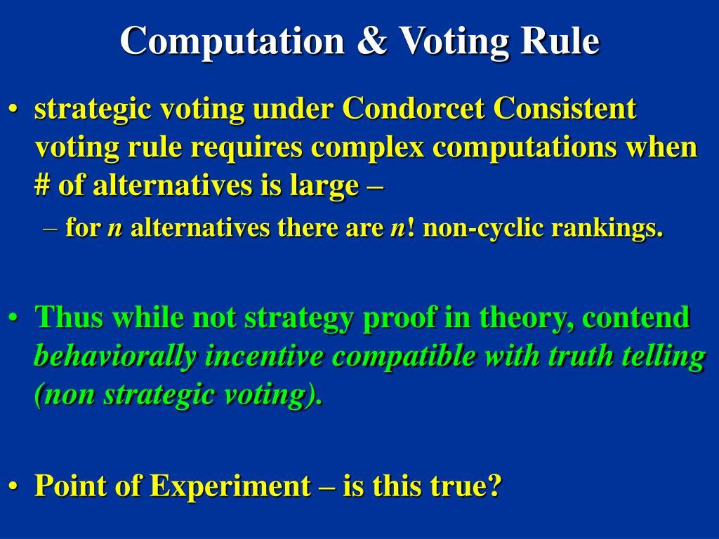 Computation & Voting Rule