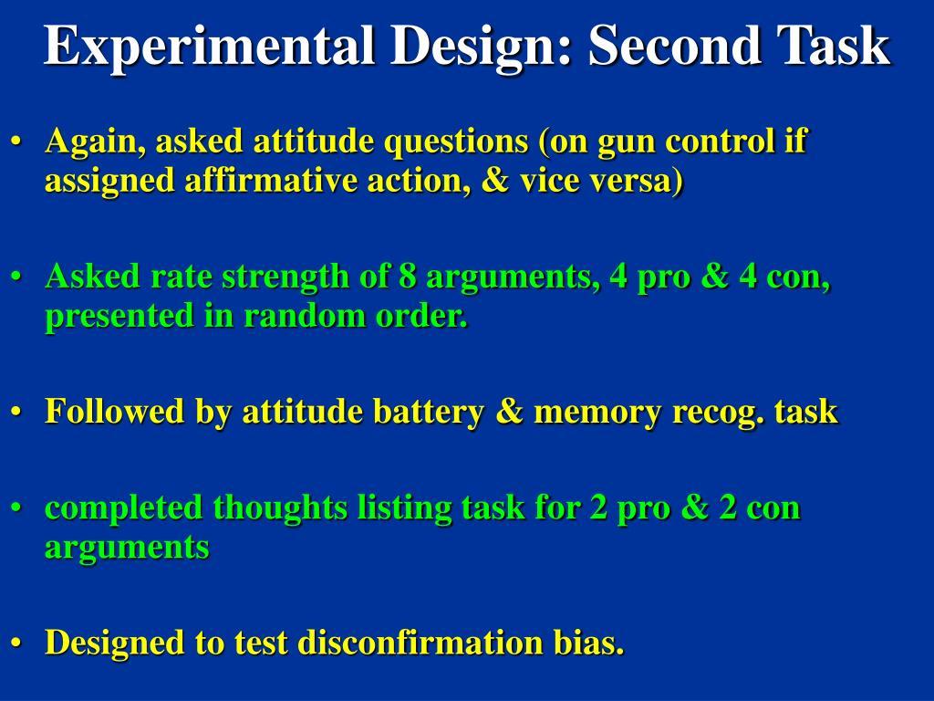 Experimental Design: Second Task