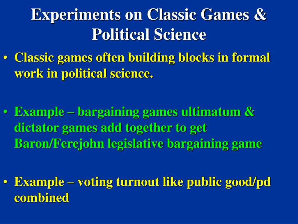 Experiments on Classic Games & Political Science