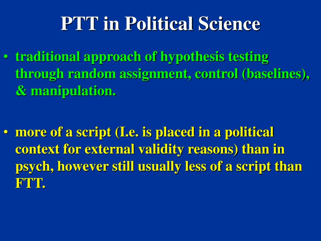 PTT in Political Science
