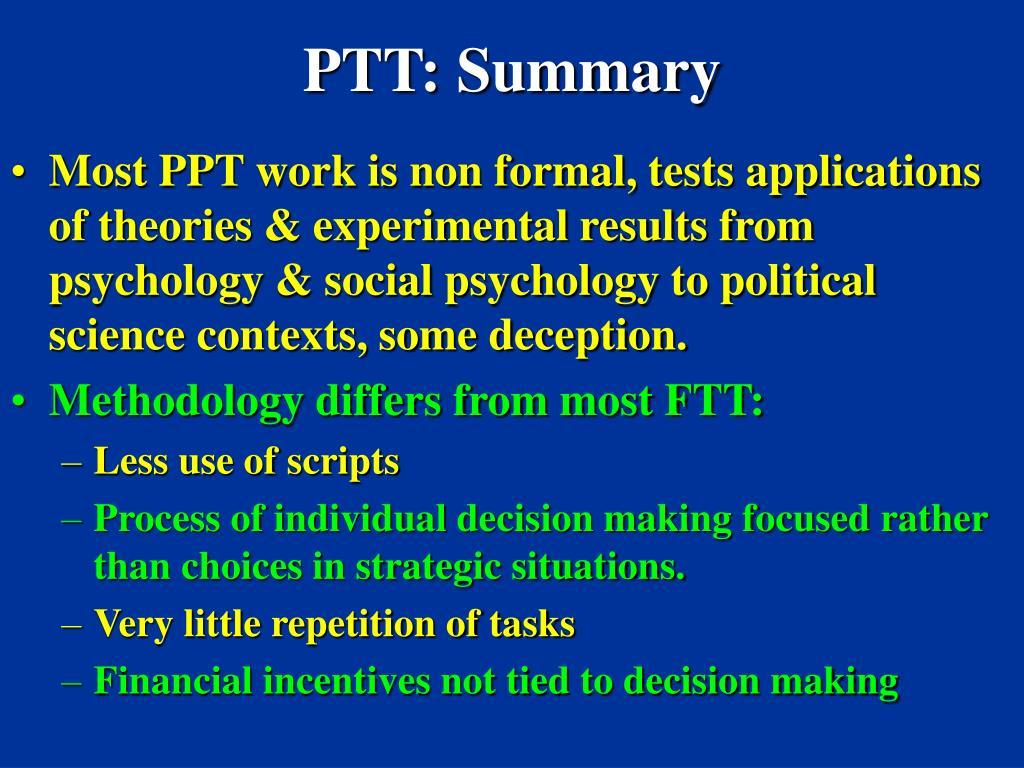 PTT: Summary