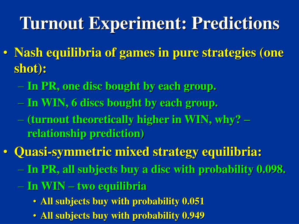 Turnout Experiment: Predictions