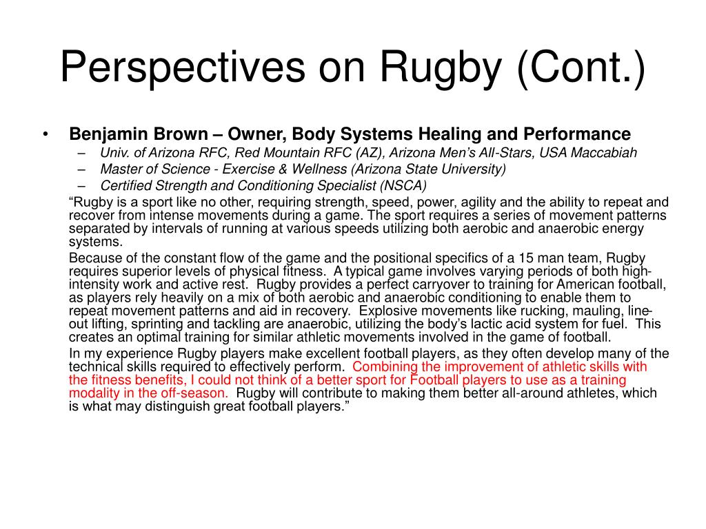 Perspectives on Rugby (Cont.)