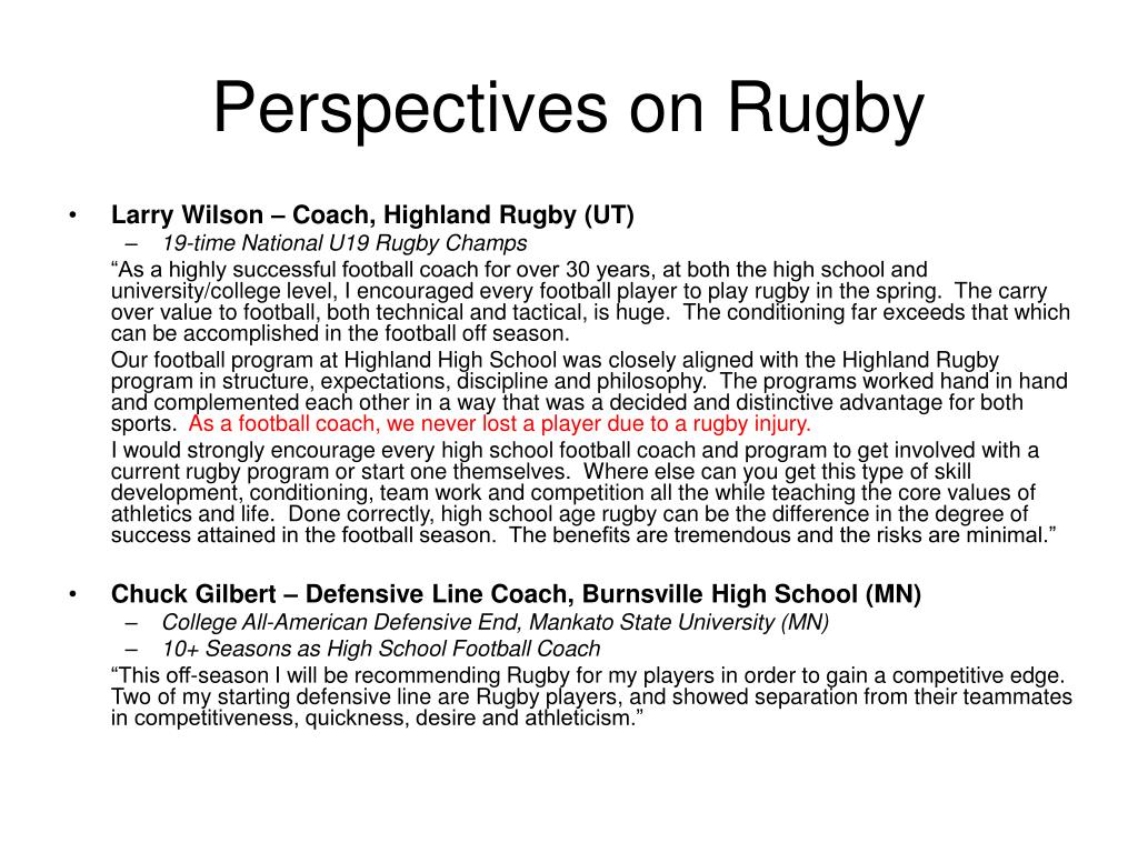 Perspectives on Rugby