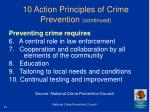 10 action principles of crime prevention continued