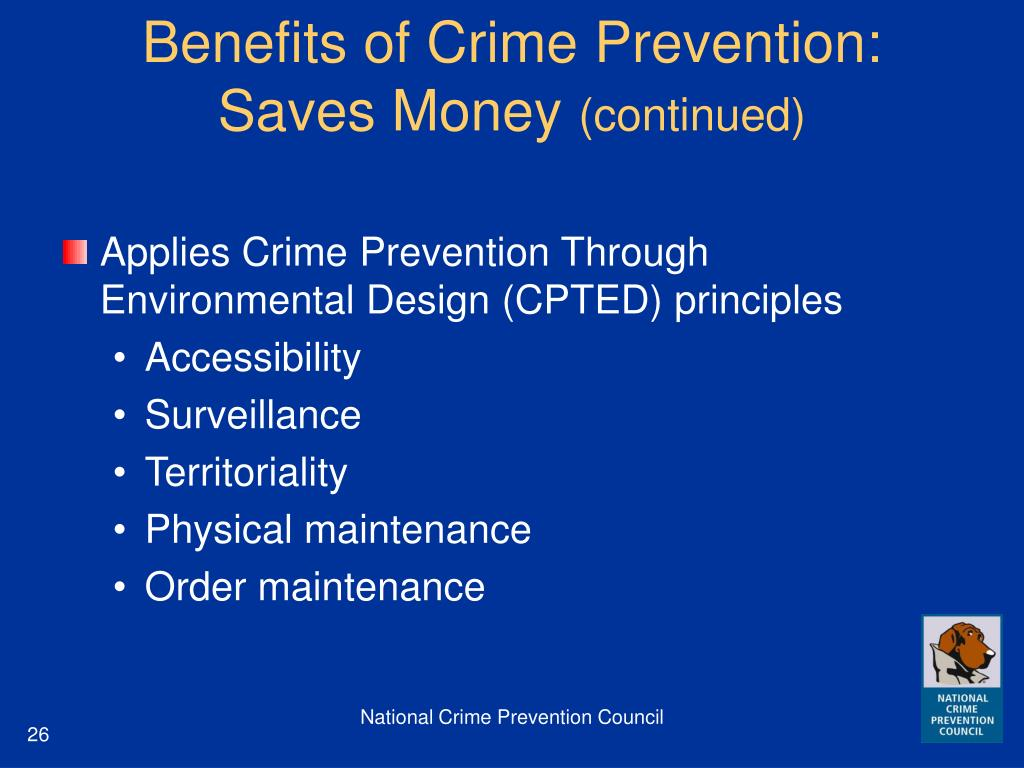 Benefits of Crime Prevention: Saves Money