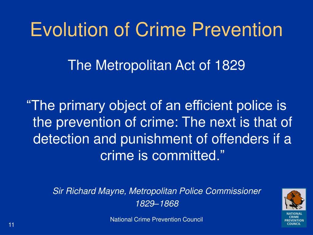 Evolution of Crime Prevention