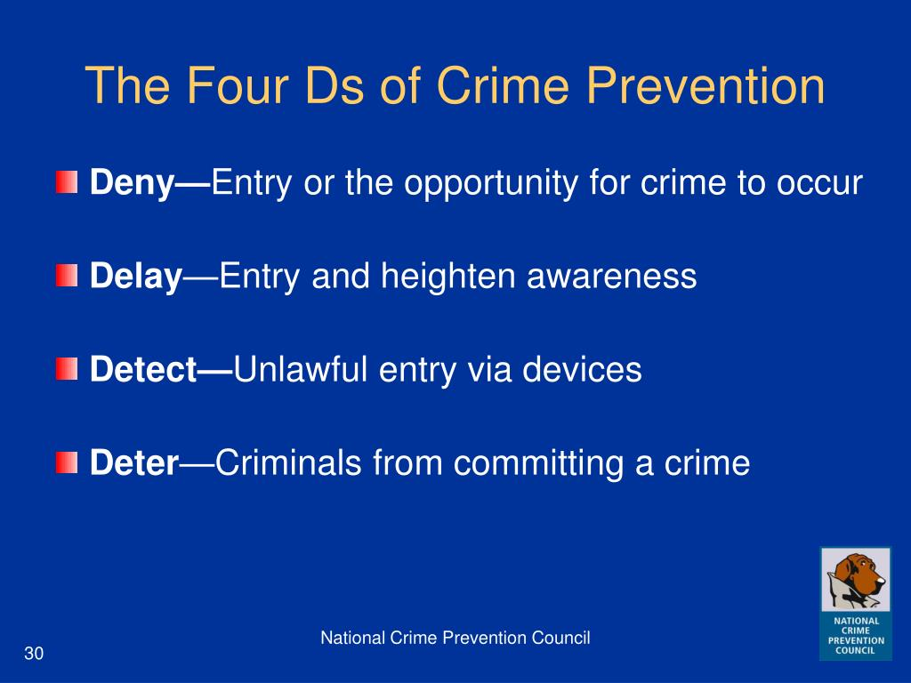 The Four Ds of Crime Prevention