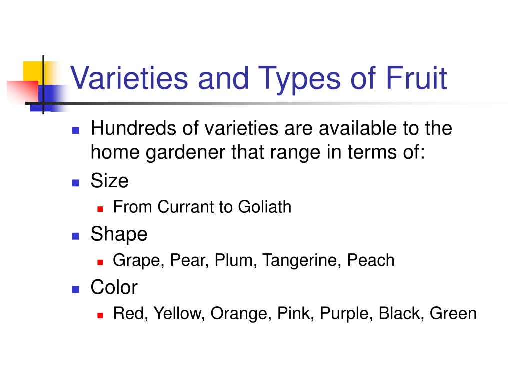 Varieties and Types of Fruit