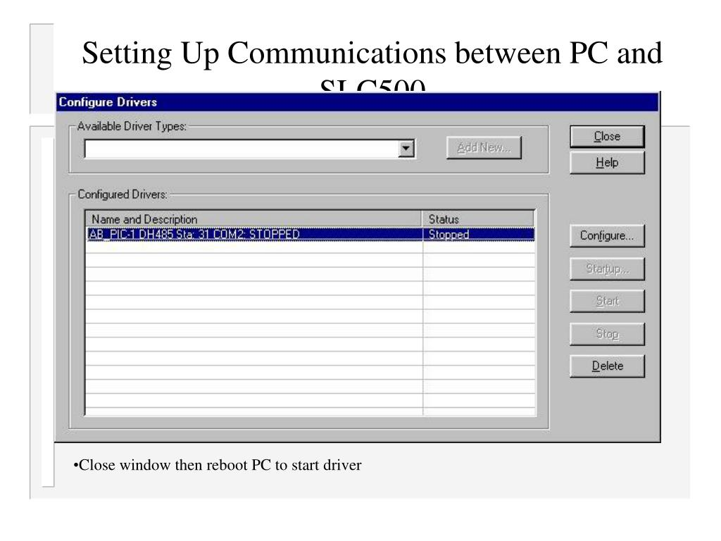 Setting Up Communications between PC and SLC500