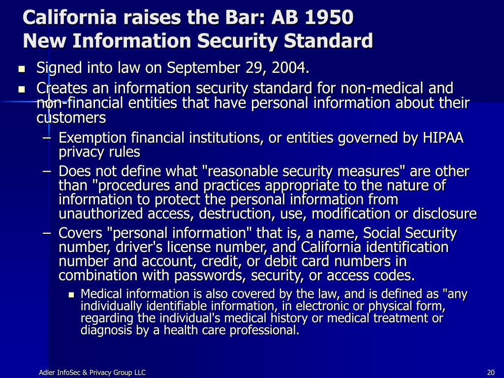California raises the Bar: AB 1950