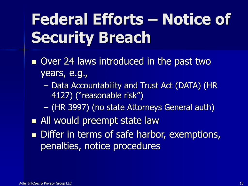 Federal Efforts – Notice of Security Breach
