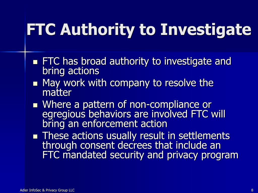 FTC Authority to Investigate