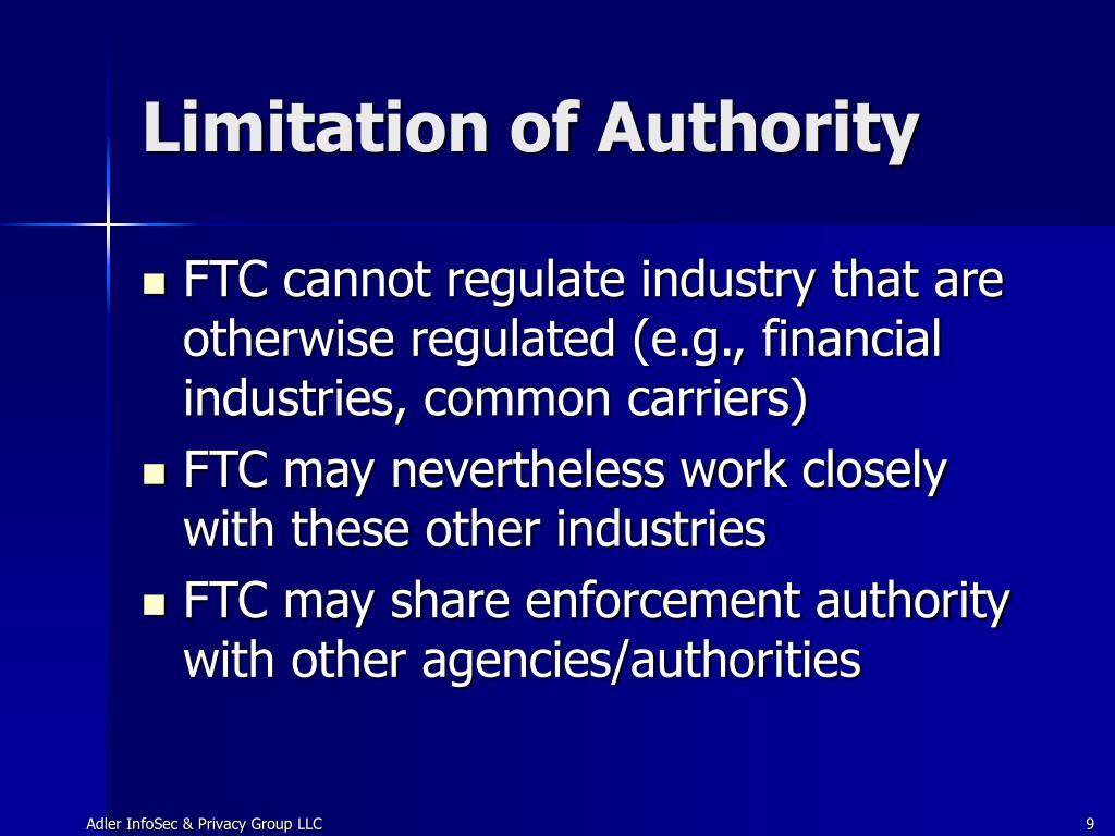 Limitation of Authority