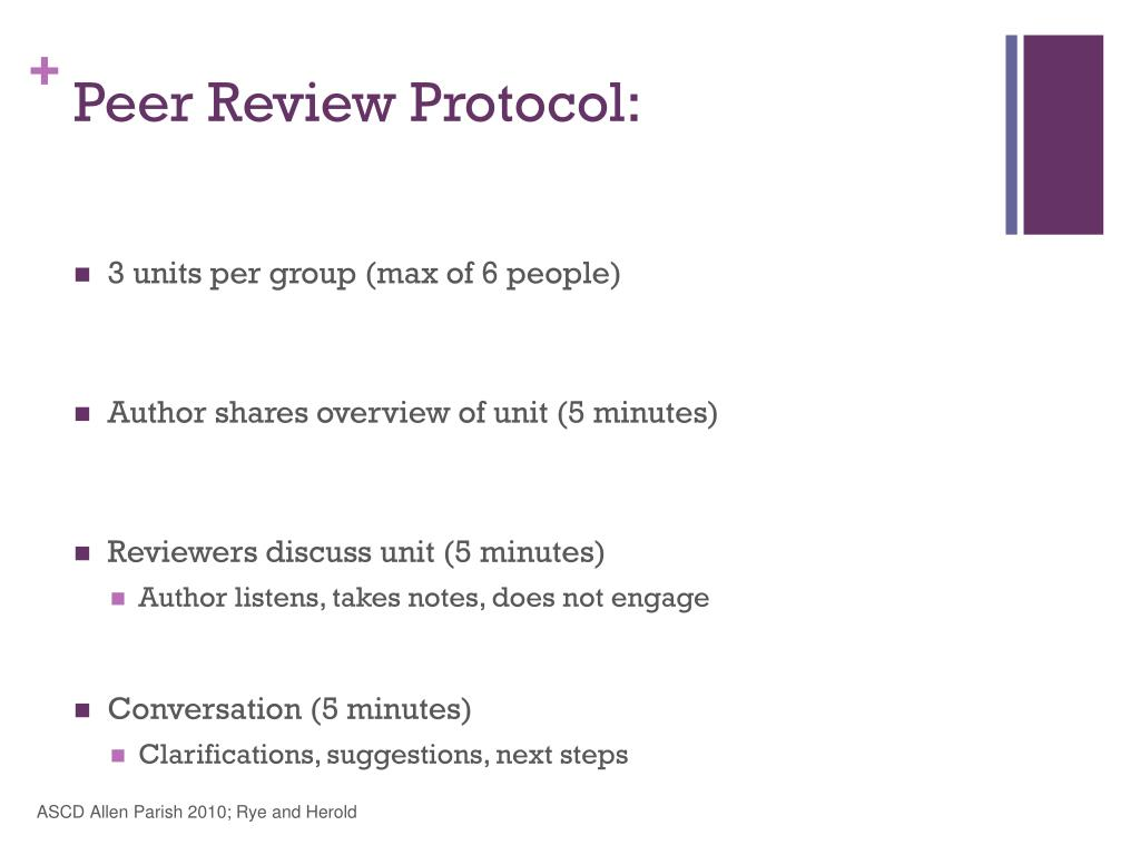 Peer Review Protocol: