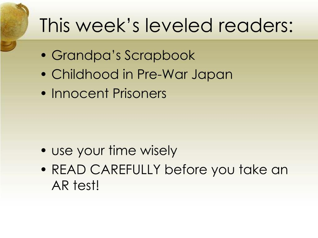 This week's leveled readers: