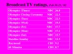 broadcast tv ratings feb 18 23 02