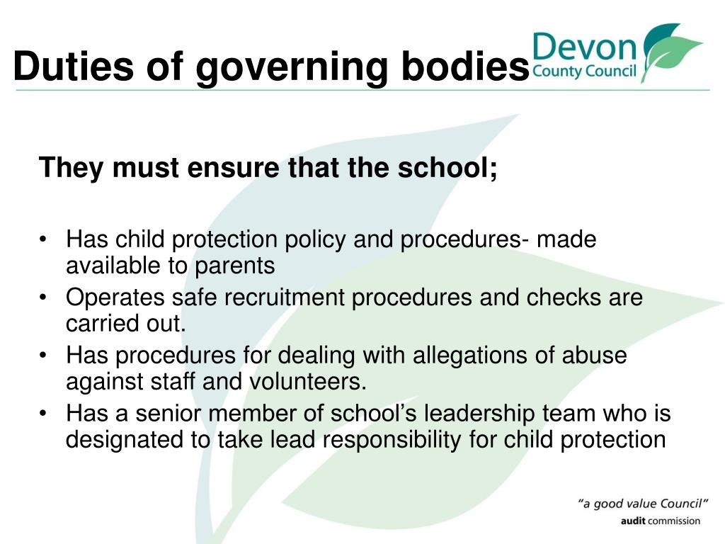 Duties of governing bodies