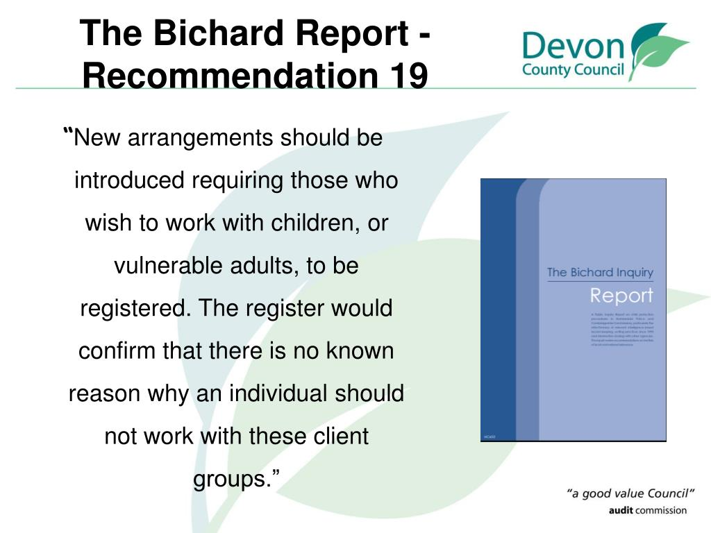 The Bichard Report - Recommendation 19