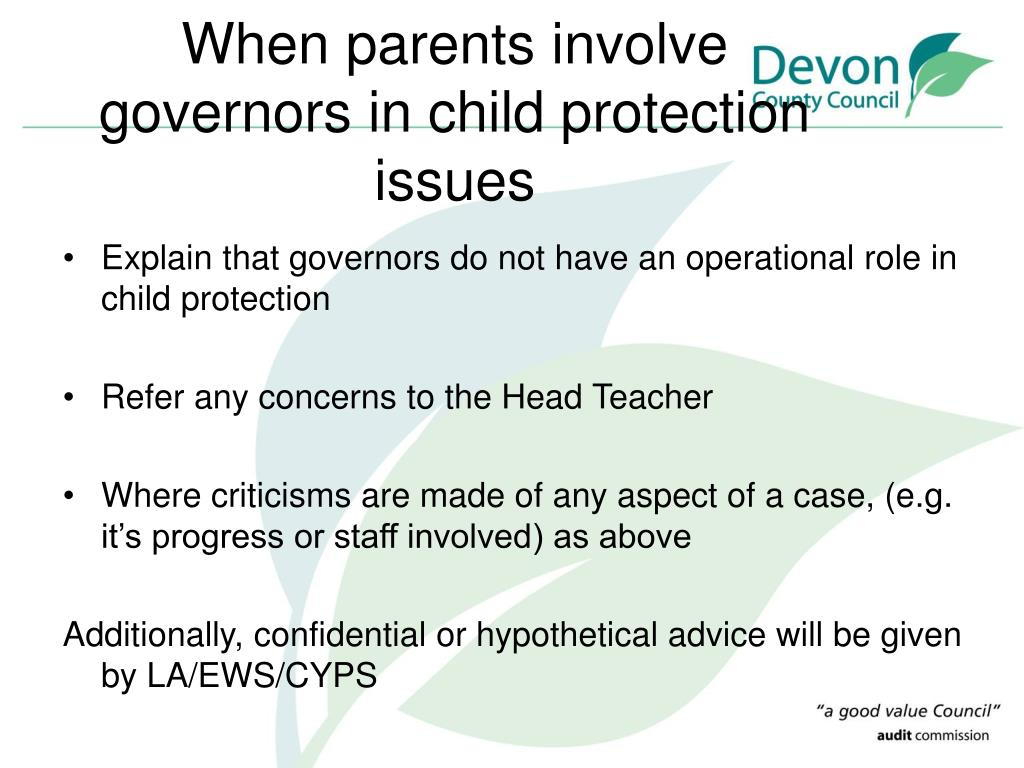 When parents involve governors in child protection issues